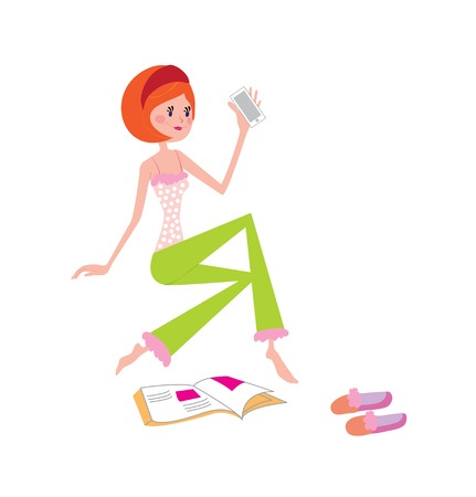 fashion magazine: Vector illustration of young girl at home with phone and fashion magazine