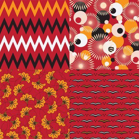 motifs: Set of 4 seamless vector patterns. African motifs