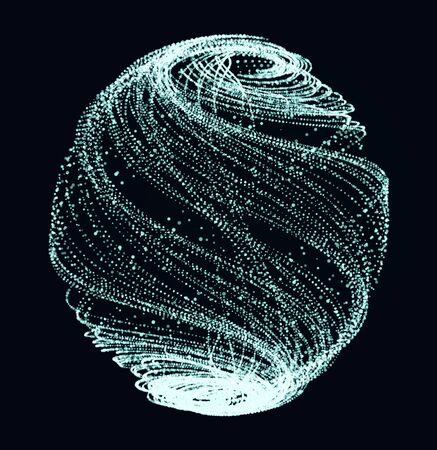diffused: Surreal shiny sphere of sparkes on the dark background. Fire ball of  blue glittering spirals.  Raster illustration for christmas or nightlight background