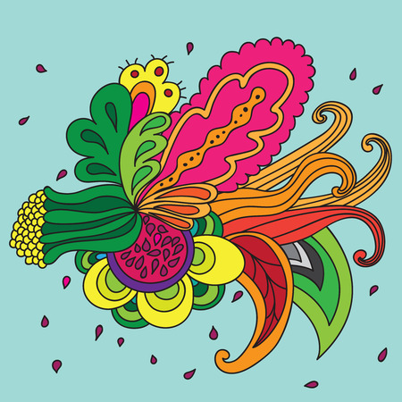 Composition of unreal flower. Isolated. Design element. Abstract garland. Vector Illustration
