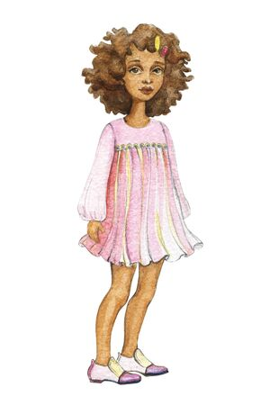 Hand drawn portrait of young beautiful african curly girl wearing pink dress. Watercolor illustration isolated on white background Stockfoto