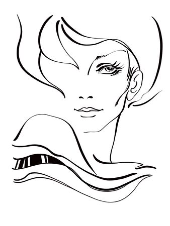 Black and white sketch of a beautiful girl with a short haircut and playfully necked shoulder. Digitally created illustration Foto de archivo - 130042112