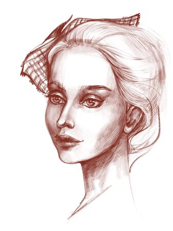 Pencil portrait of a beautiful young woman with an original headdress and beautiful large expressive eyes on a graceful face. White background. Digitally created illustration