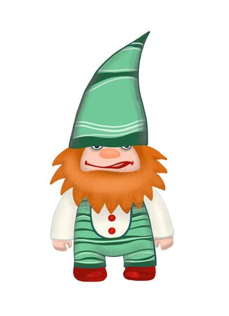 Angry gnome with red beard in green hat. Digitally created illustration Stockfoto