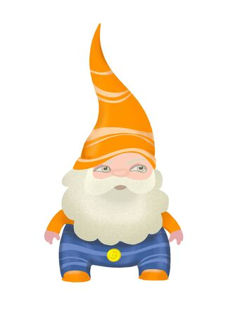 Wise gnome with grey beard in green hat. Digitally created illustration