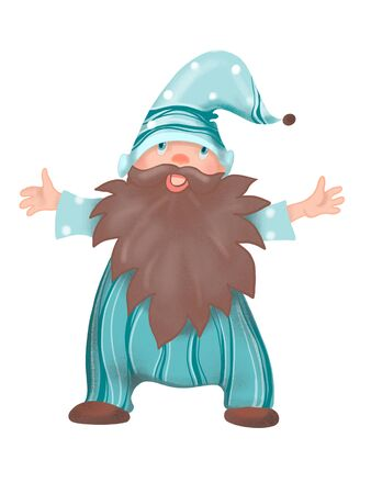 Cheerful gnome with brown beard with hugs. Digitally created illustration Banco de Imagens