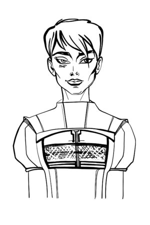 Black and white sketch of a beautiful futuristic style girl with a short haircut. Vector illustration