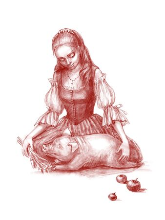 Hand drawn portrait of young beautiful country girl sitting and feeding her pig. Digital pencil illustration isolated on white background. Country life, farming or healthy organic food concept Foto de archivo - 130042127