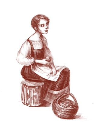Hand drawn portrait of young beautiful country girl sitting with basket of apples. Digital pencil illustration isolated on white background. Country life, farming or healthy organic food concept Banque d'images - 130042128