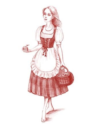 Hand drawn portrait of young beautiful country girl walking with basket of apples. Digital pencil illustration isolated on white background. Country life, farming or healthy organic food concept