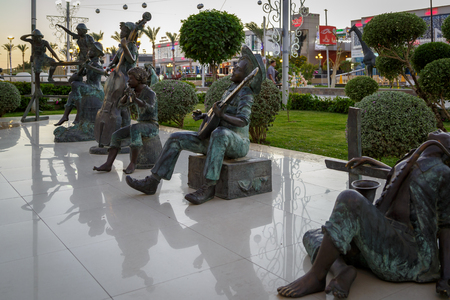 quintet: Sculptures of street musicians in the heart of Soho Square in Sharm El Sheikh, Egypt