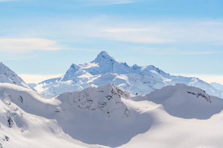 snowed: Snowed Mountain peaks in the Caucasus in anticipation of skiers
