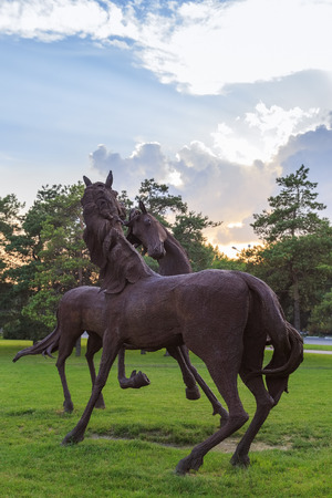ROSTOV-ON-DON, RUSSIA - JUNE 18, 2016: Sculpture of the iron horses in the park of the city Rostov near airport