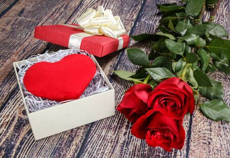 Fervent heart and red roses as a gift for Valentines Day