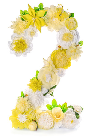 numbers abstract: Yellow-white handicraft number 2 made of paper flowers on a white background