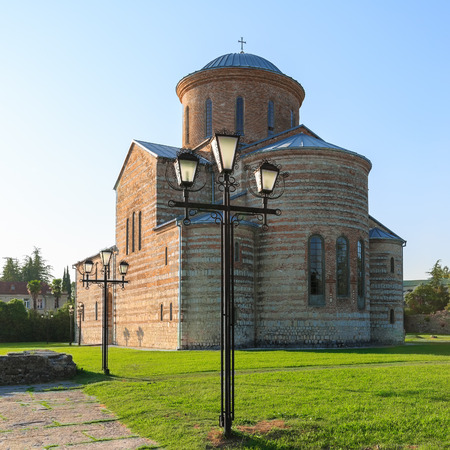 PITSUNDA, ABKHAZIA, SEPTEMBER 19, 2017: Ancient Patriarchal Cathedral in honor of the Apostle Andrew in Pitsunda in the evening