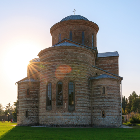 PITSUNDA, ABKHAZIA, SEPTEMBER 19, 2017: Ancient Patriarchal Cathedral in honor of the Apostle Andrew in Pitsunda in the sunlight