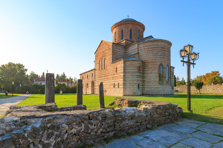 PITSUNDA, ABKHAZIA, SEPTEMBER 19, 2017: Ancient Patriarchal Cathedral in honor of the Apostle Andrew in Pitsunda in the summer day