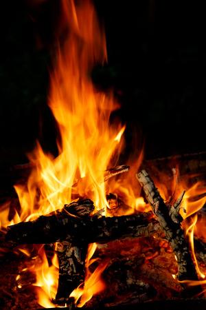 Hot bonfire burns on the beach on coastline