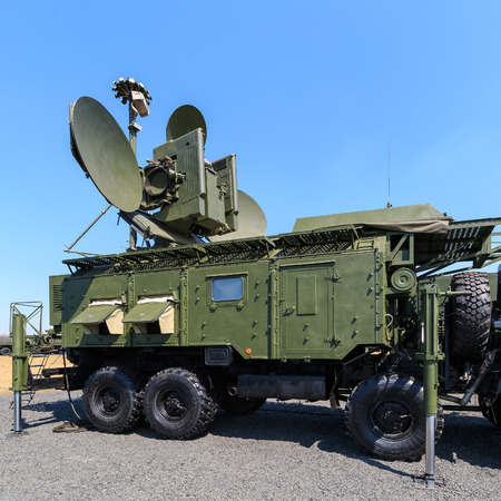 KADAMOVSKIY TRAINING GROUND, ROSTOV REGION, RUSSIA, 26 AUGUST 2017: International military technical forum ARMY-2017. The Russian modern ground-based multifunctional electronic jamming module RB-271A Krasukha-4