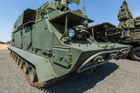 KADAMOVSKIY TRAINING GROUND, ROSTOV REGION, RUSSIA, 26 AUGUST 2017: International military technical forum ARMY-2017. The combat vehicle 9A331 of the anti-aircraft missile system TOR Editorial
