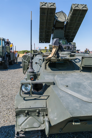 KADAMOVSKIY TRAINING GROUND, ROSTOV REGION, RUSSIA, 26 AUGUST 2017: International military technical forum ARMY-2017. Combat vehicle 9A35 with anti-aircraft missile system STRELA-10