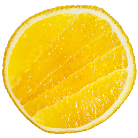 Juicy cut of ripe orange, isolated, as a background or a backdrop