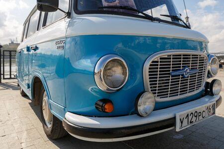 ROSTOV-ON-DON, RUSSIA, 07 OCTOBER 2017: Cyan retro minivan Barkas B1000 at the Don River. Close-up