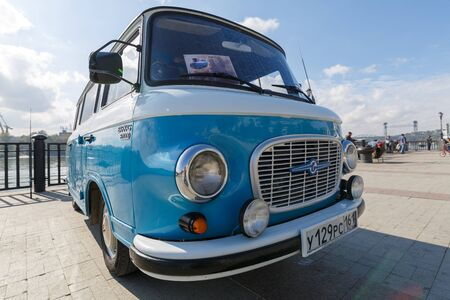 ROSTOV-ON-DON, RUSSIA, 07 OCTOBER 2017: Cyan retro minivan Barkas B1000 at the Don River. Front view