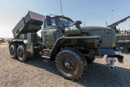 """AUGUST 2018: International military technical forum """"ARMY-2018"""". Combat vehicle 2B17 M1 of multiple-launch rocket system 9K51 Tornado-G. Redactioneel"""