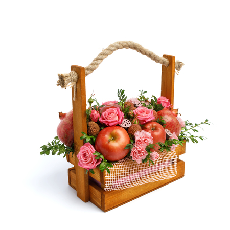 Unique gift wooden box with flowers and fruits isolated on white