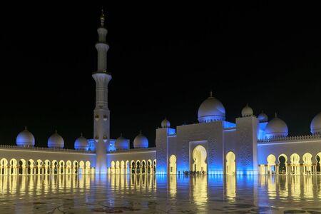 ABU DHABI, UAE, JANUARY 10, 2019: Beautiful view of the Sheikh Zayed Grand Mosque