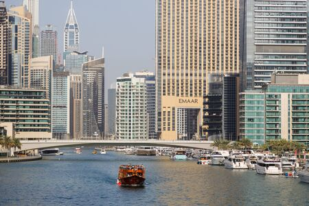 DUBAI, UAE, JANUARY 08, 2019: Wooden touristic ship sails on the bay