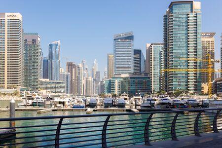 DUBAI, UAE, JANUARY 13, 2019: Beautiful view of high-rise buildings and yacht club