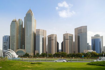 ABU DHABI, UAE, JANUARY 10, 2019: View of the wide street and high skyscrapers