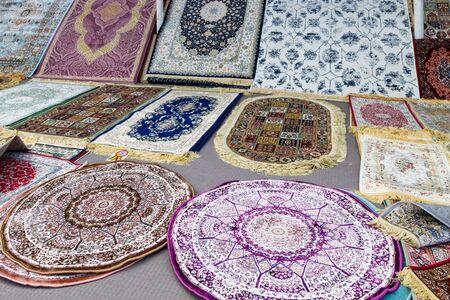 FUJAIRAH, UAE, JANUARY 11, 2019: Beautiful thin carpets in the store Redactioneel