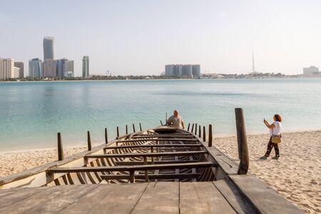 ABU DHABI, UAE, JANUARY 10, 2019: Tourists are photographed
