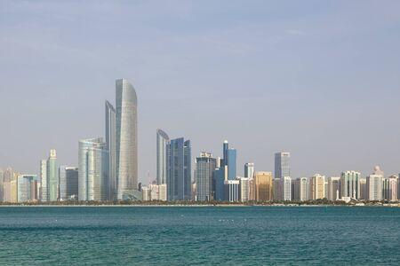ABU DHABI, UAE, JANUARY 10, 2019: Panorama overlooking the sea bay and high-rise buildings