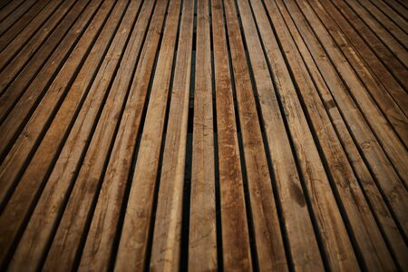 Perspective view of the wooden floor of a sea pier as backdrop Stockfoto