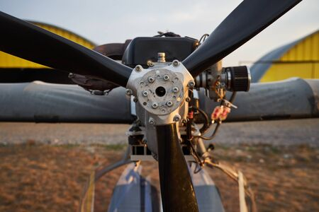 Air propeller of the ultralight aircraft standing on airfield, close-up. Stockfoto