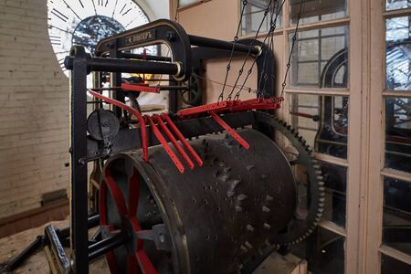 Part of the ancient mechanism of the big clock on the tower made by the Russian company Frederick Winter.