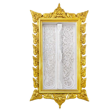 Gold ornate wood window in Asian style on white background.