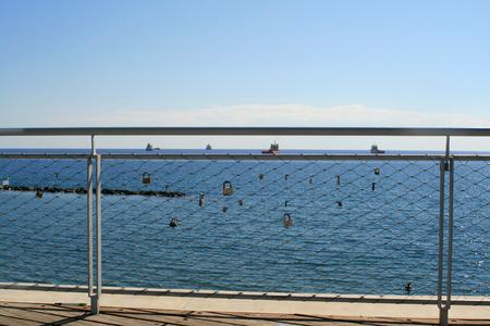 Love padlocks on Cyta footbridge in Limassol, Cyprus Editorial