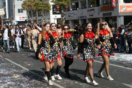 Limassol, Cyprus, February 26th, 2017: Annual Limassol Carnival, Grand Carnival Parade on Archbishop Makarios III Avenue