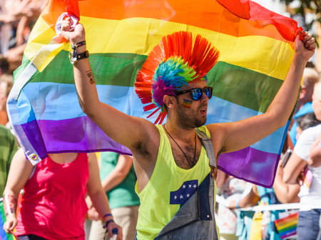 Stockholm, Sweden - August 1, 2015: participant in Stockholm Pride Parade 2015 Stock Photo - 62875855