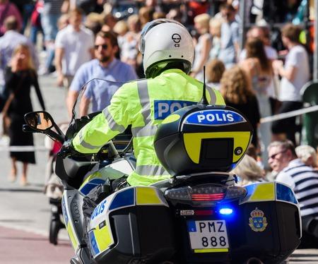 Stockholm, Sweden - August 1, 2015: Swedish motorcycle police at Stockholm Pride Parade 2015 Editorial