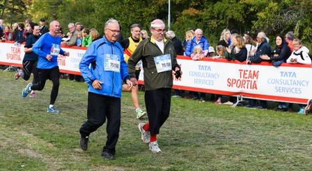 Stockholm, Sweden - September 24, 2016: Christer Grunder finish his 52 Lidigo race (10 km), he have done all Lidingo race so far Editorial