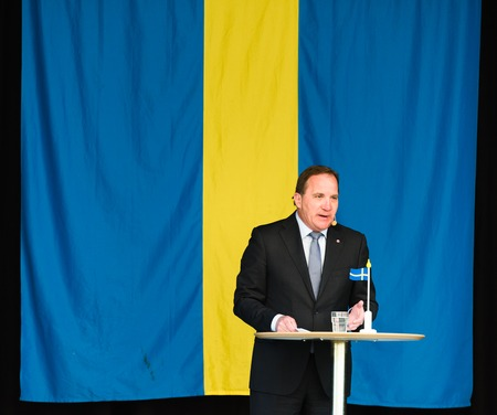 the prime minister: Stockholm, Sweden - June 6, 2016: Swedish Prime Minister Stefan Lofven speaking at the Swedish National Day,Hagelbyparken,Botkyrka