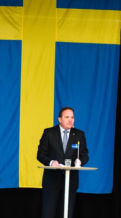 Stockholm, Sweden - June 6, 2016: Swedish Prime Minister Stefan Lofven speaking at the Swedish National Day,Hagelbyparken,Botkyrka