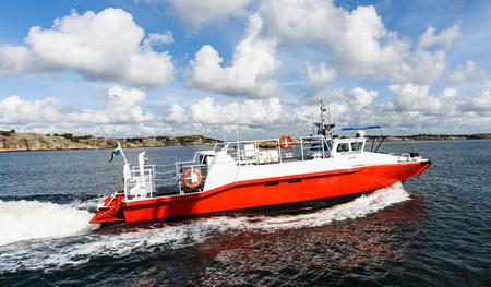 Gothenburg, Sweden - August 30, 2015: Swedish boat ambulance in the Gothenburg archipelago Editorial